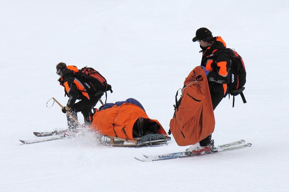 entorse après chute de ski
